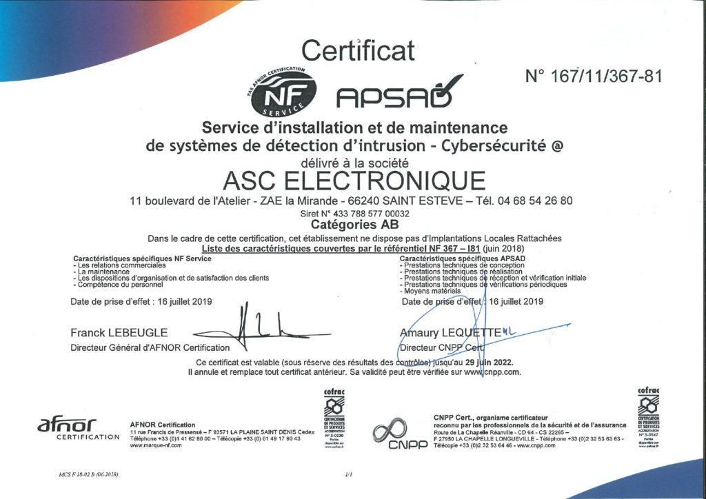 Certification APSAD Alarme - ASC Electronique